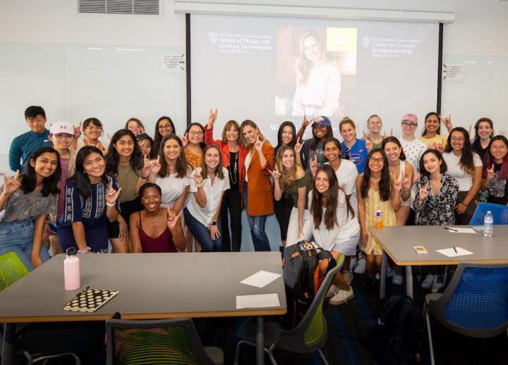 Women in Entrepreneurship class at the University of Texas at Austin with entrepreneur Kendra Scott