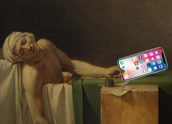 satiric image of a Renaissance painting. the subject is holding a modern iPhone