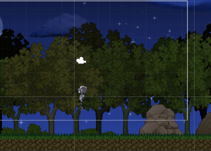 the main character of Coming Home jumps in front of a forest at night