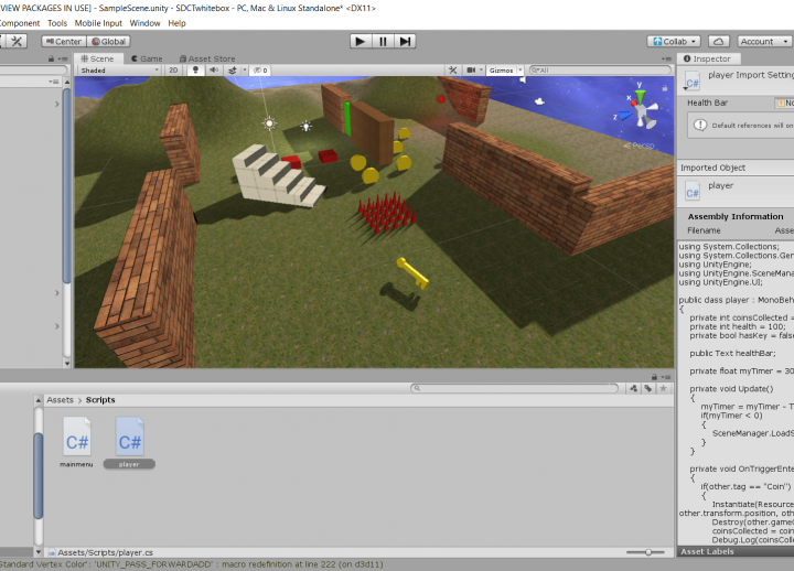 screenshot of back-end of video game creation process in Unity