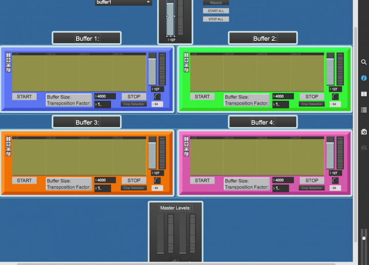 screenshot of four different colored buffers in Abelton