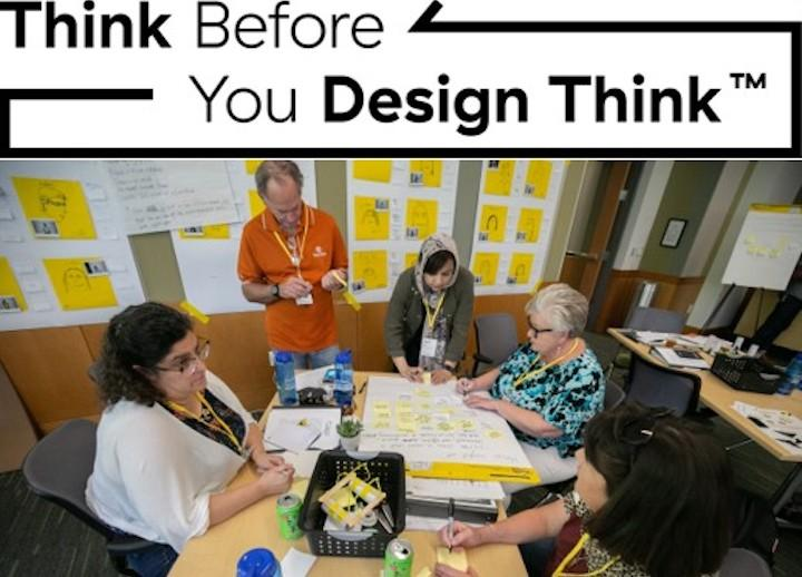 participants sitting around a table at an SDCT Executive and Extended Education Think Before You Design Think workshop at the University of Texas at Austin