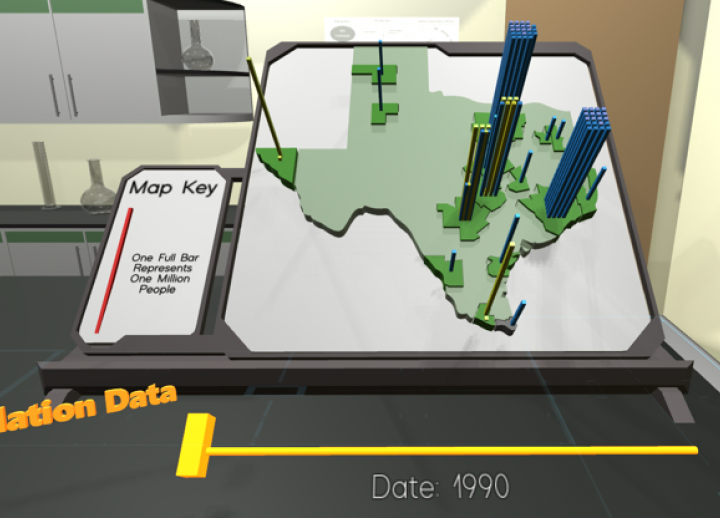 still image of VR Futures Project created by Planet Texas 2050. a map of Texas displays population data in the form of a 3D bar graph across the state