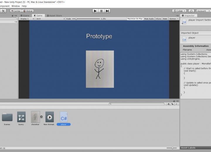 "screenshot of back-end of video game in progress. in center text reads ""prototype"" over a smiling stick figure"