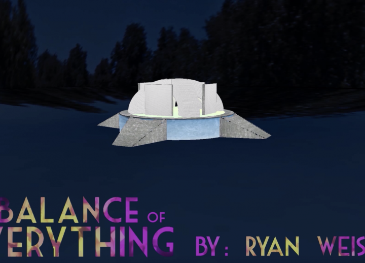 3D rendering of a structure in a clearing in a wooded area. text reads: The Balance of Everything by Ryan Weisner