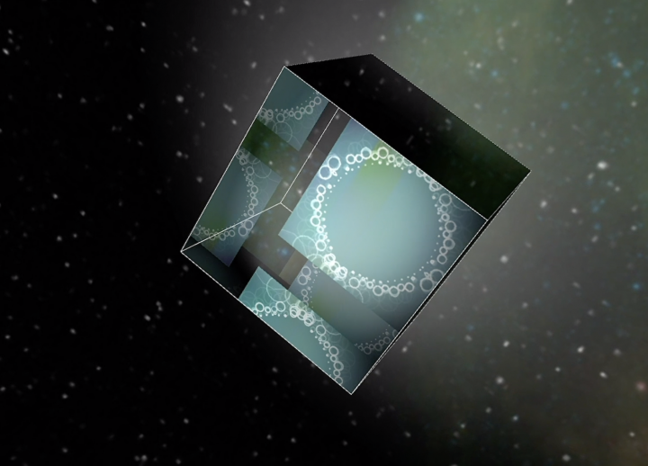 floating transparent cube in space created in Notch for AET senior Laura Godinez' The Room (in partnership with fellow AET senior Harry Wilde Greer)