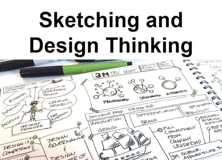 "photo of sketch book with open page filled with sketchnoting. a green pen rests along the top edge of the sketch book. text reads ""Sketching for Design Thinking"""