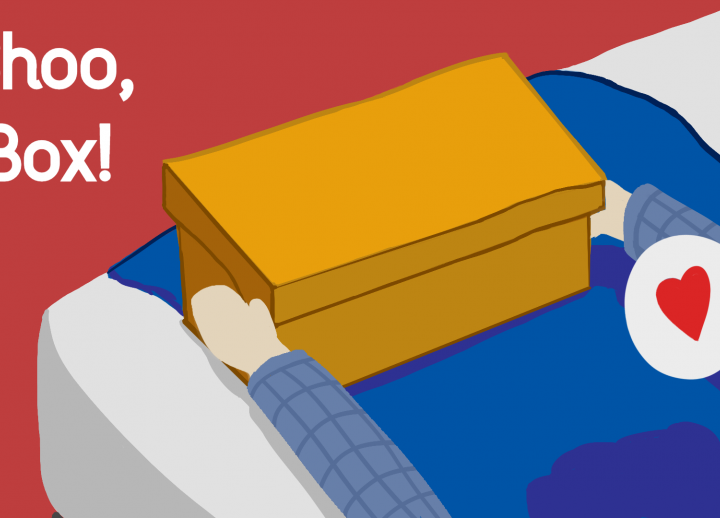 "2D art of two arms placing a shoebox on the edge of a bed. text reads ""Shoo, Box!"""
