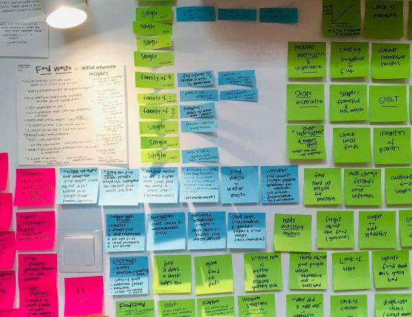 a wall covered in color-coded sticky notes from a design workshop with SDCTx