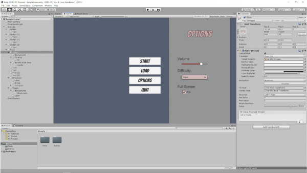 screenshot of back-end of UX/UI creation process in Unity